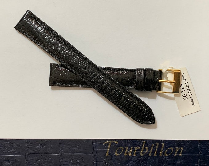 Vintage Tourbillon Italy Genuine Leather - Lizard Grain Watch Band, 16 mm Lugs, Padded Stitched Water Resistant, Heavy Duty, Black