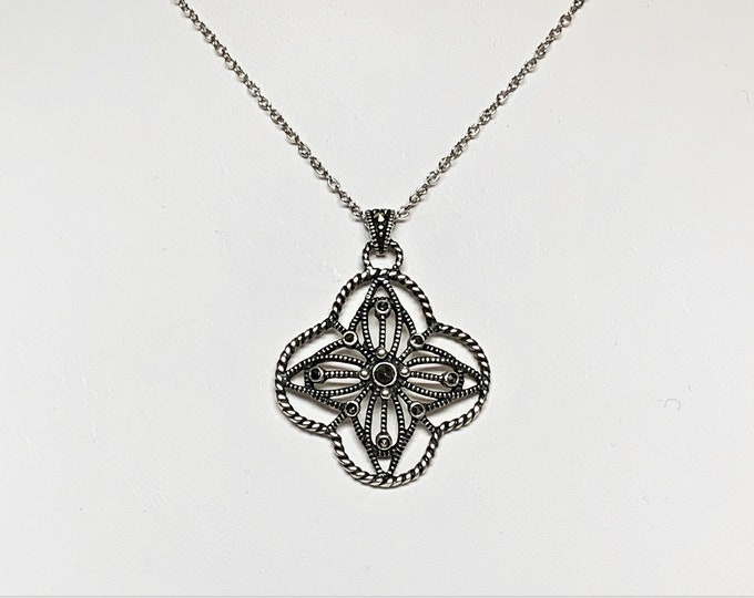 """Sterling Silver Marcasite Hand Crafted Cross Necklace, Unique Filigree Work, 1 3/8"""" L. 1"""" W, 18"""" Sterling Fine Chain. Free US Shipping."""