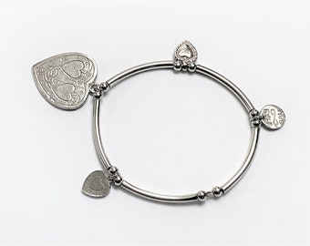 Vintage Bali Sterling Silver Charm Beads Bracelet, 14.80 Grams, Signed, Expansion. Refinished. Free US Shipping.