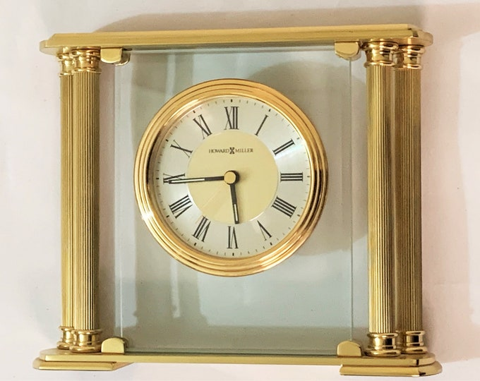 """Howard Miller Athens Table Clock 613-627 - Made with Solid Brass & Beveled Glass Crystal, Quartz Movement, 8"""" W X 6.5"""" H. FREE US SHIPPING"""