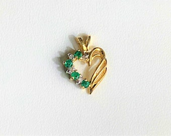 "10K Yellow Gold Emerald & Diamond Heart Pendant, Natural Emeralds .15 ct. Diamonds .05 ct. Gold 1.45 Grams, 3/4"" X 1/2"", Free US Shipping.."