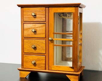 """Golden Oak Hand Crafted Wood Jewelry Box Chest , Double Glass Door, Padded Wall & Drawers, Mirror, Hangers. 10"""" T. 9"""" W. Free US Shipping."""