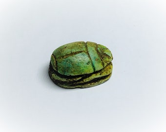 Vintage Ancient Egyptian Superb Faience Ritual Scarab Amulet. Abydos Shrine Area, Upper Egypt, 19 mm.