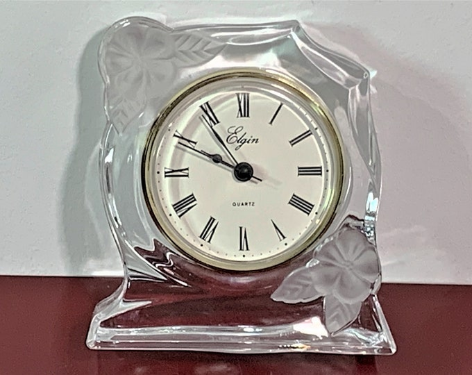 """Vintage Egin France Lead Crystal Floral Clock. Precision Quartz, Works Perfectly. Top Grade Condition. 5"""" T. 4.25"""" W. Free US Shipping."""