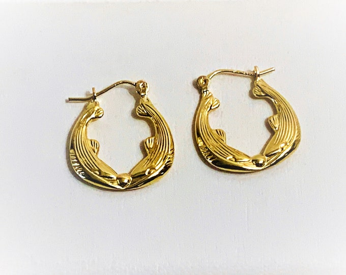 "14K Yellow Gold Small Hoop Earrings, Kissing Dolphins, 3/4"" Drop, 5/8"" Wide. Free US Shipping."