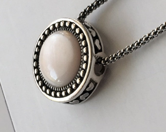 """Sterling Silver and Pink Tone Mother of Pearl Necklace, 3D Round Slide 18.5mm, 20"""" Mesh Chain, Original Piece"""