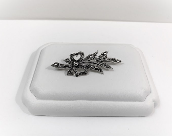 """Vintage Sterling Silver Marcasite Brooch, Very well Crafted, Over 2"""" Long, Simply Beautiful and Unique"""