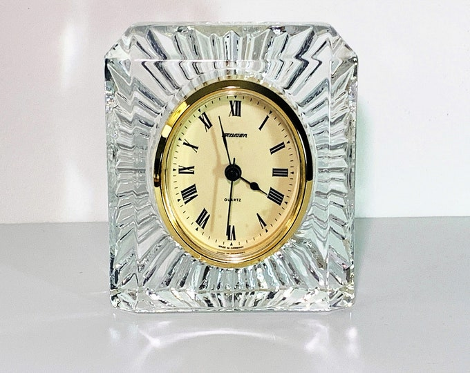 """Vintage Staiger West Germany Fine Crystal Clock, 24% Lead Crystal, Mint Condition, 5"""" T, 4 1/8"""" W, 2"""" D,  Very Sharp Clock."""