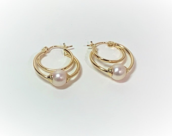 """14K yellow Gold Hoops with 7.5 mm Akoya Cultured Pearls, 1.2"""" - 30 mm Drop. 2.60 Grams. High Polish Double Hoop. Free US Shipping."""