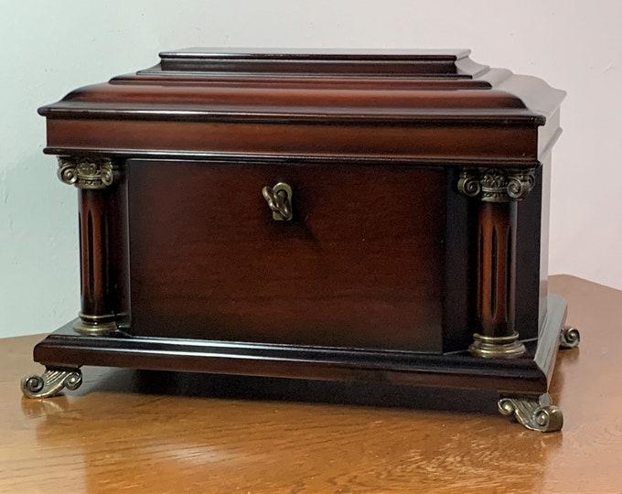 "Bombay Company Luxurious Jewelry Treasure Box, Skeleton Key Lock, Bronze Feets & Column Accessories. Mirror, 12"" W. 7.5"" L. Free US Shipping"