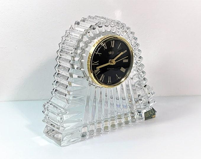 "Mikasa Germany Large Fine Crystal Mantel Clock, Precision Quartz, 7"" W, 6.5"" T. Black Dial, Gold Hands & Numerals, Mint. Free US Shipping."