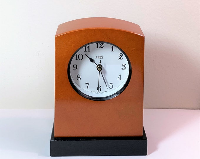 "Vintage Inhouse British Handmade Contemporary Clock. Fine Woods, Junghans German Quartz Movement. Restored and Refinished, 6.5"" T - 5"" W."