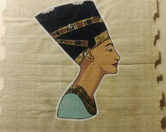 Vintage Hand Painted and Signed Egyptian Papyrus, Queen Nefertiti, 9 X 6 1/2 inch. 22 X 16 cm