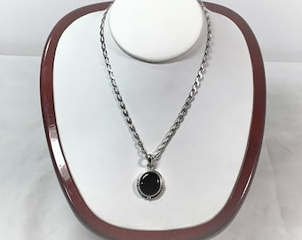 """Vintage Sterling Silver & Black Onyx Necklace, Cabochon Onyx Gemstone 18 X 15mm, 18"""" Curb Link Chain, 14.90 Grams, Antiqued Silver, Italy"""