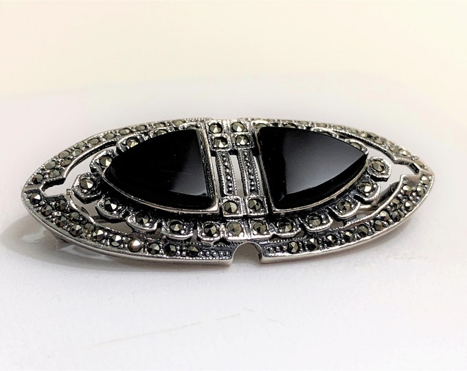 "Vintage Sterling Black Onyx and Marcasite Brooch, 1 3/4"" - 45mm Wide, Classic Beauty"