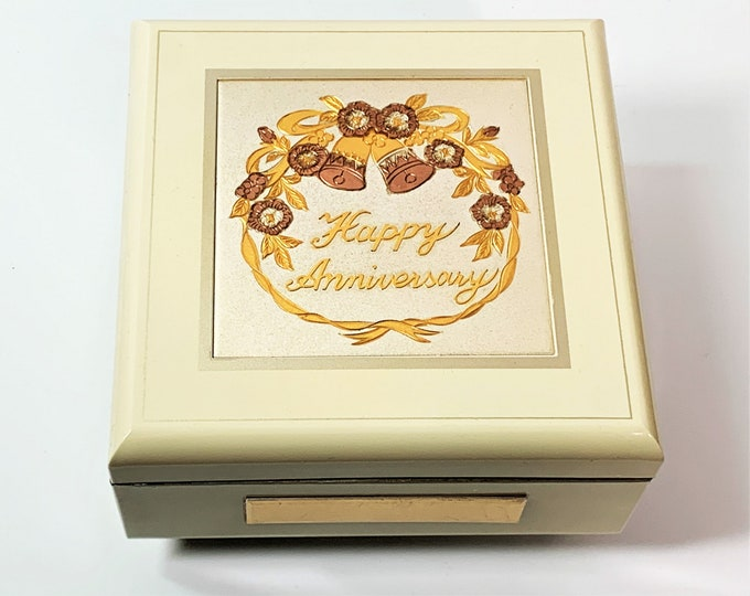 Anniversary Music Jewelry Box, Art of Chokin Gilded Engraved Plate, Mirror and Padded Sections, Sankyo Music Box, Japan, Free US Shipping.
