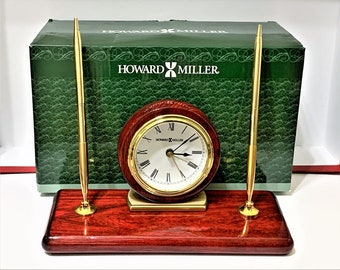 "Howard Miller Rosewood Desk Alarm Clock 613-588, Solid Brass, Glossy Finish, 2 Brass Pens, Precision Quartz, 9.25"" W - 4.5"" H, Mint"