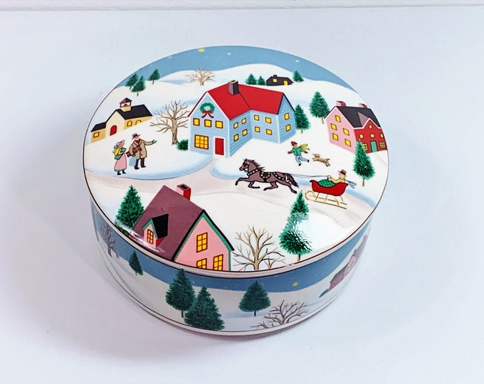 """Vintage Mikasa Holiday Village Porcelain Trinket Jewelry Box, UT070/683 Japan, 5"""" Round, Very Colorful, Mint Condition, Free US Shipping."""