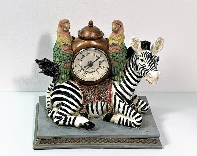 "Design Toscano Sculptural Clock, Safari Theme, Hand Crafted, Designer Quality Resin & Rock, Precision Quartz. 7"" W. 7"" T. Free US Shipping."