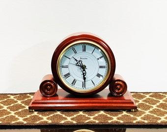 "Bulova Walnut Mantel Clock B1895, 10.5"" Wide. 8"" Tall. 5"" Dial, Serpentine Hands, Works Perfect. Restored. Tested, Taiwan. Free US Shipping"