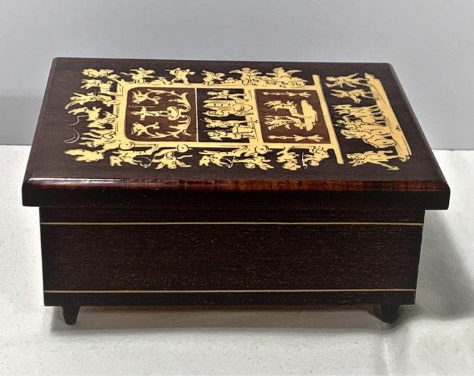 "Collectible Italian Burmese Rosewood Music Box, Inlaid Top Display Depicts Classic Roman Art, Plays""Solo Mio"", Sankyo Music Box, 5.75 X 4.5"""
