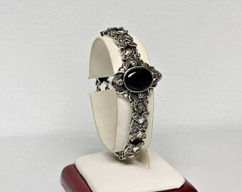 """Vintage Sterling Silver Marcasite Black onyx Victorian Bracelet, Large Center Piece, 21.20 Grams, 7"""" L. 1"""" W. Box Clasp. Free US Shipping."""