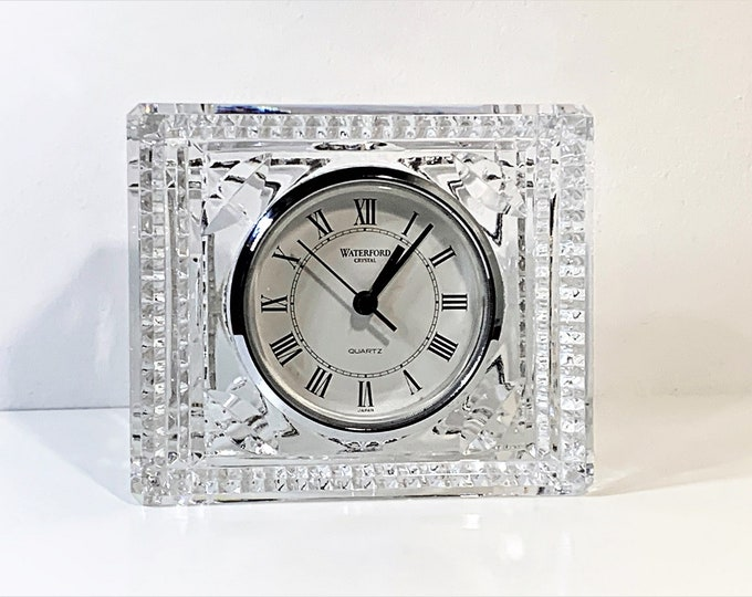"""Waterford Star Fine Lead Crystal Clock. Hand Cut Faceted Rectangular Precision Quartz, Mint Condition, 5"""" W. 4"""" H. Free US Shipping. Ireland"""