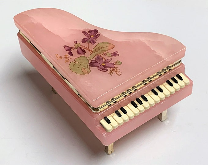 "Florentia Pinkish Italian Alabaster Piano Shape Trinket-Jewelry Box, Hand Crafted, Hinged Lid W/Flowers,  5"" L. 3.25"" W. Free US Shipping"