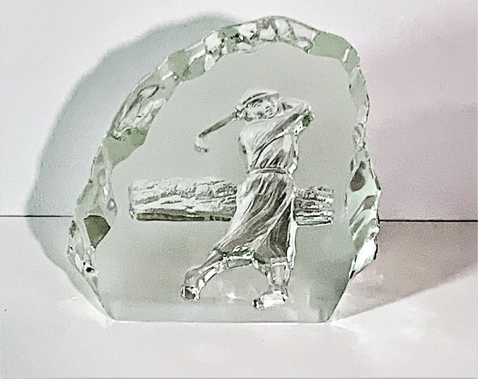 """Vintage Carved Tempered Glass Sculpture, 'Golfer in Action', Frosted & Clear, 1"""" Thick, 6"""" Tall, 5"""" Wide. Fine Glass Art. Free US Shipping."""