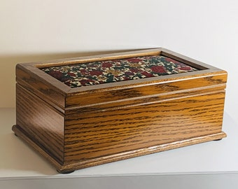 """Vintage Powell Teakwood & Tapestry Colorful Floral Top Jewelry Box, Removable Tray, Hangers, Pouch, 11.5"""" W. 7"""" L. 4.5"""" H. Free US Shipping"""