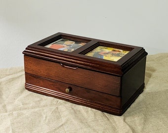 """Vintage Fine Craft Wood Mahogany Jewelry Box, Hinged Lid, 2 Picture Frame Widows, Padded Sections & Drawer, 9"""" W. 5.5"""" L. Free US Shipping."""