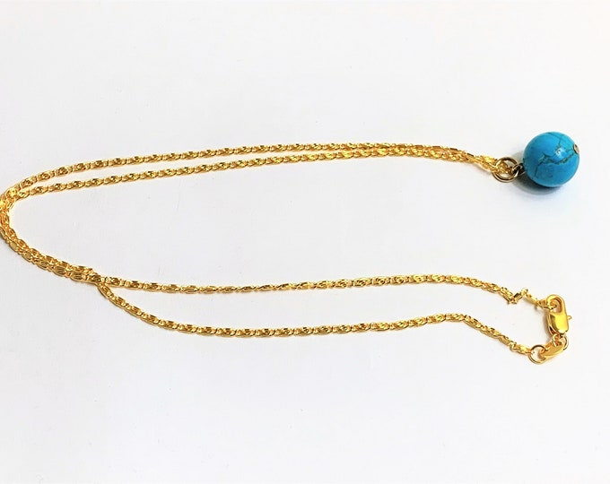 """Egyptian Turquoise Single Bead Necklace, 12mm , 18K Gold Filled 20"""" Chain, Ancient Egyptian Protection From Evil Spirits Charm."""