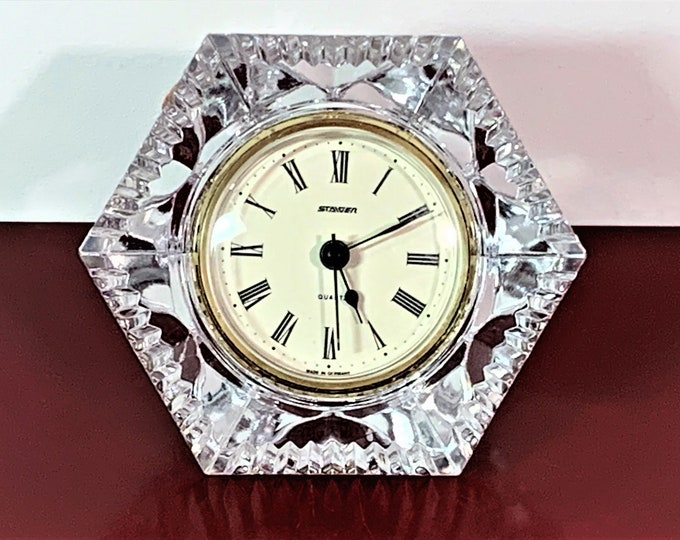 "Vintage Staiger West Germany Fine France Crystal Clock, 24% Lead Crystal, Mint Condition, Hexagon 5"" W. 4.5"" T. 3"" D. Free US Shipping"