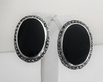 """Vintage Sterling Silver Marcasite Black Onyx large Earrings, Posts with Large Sterling Backs, Fine Quality, 29 X 22 mm, 1 1/4"""""""
