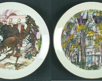 Pair of Chicago Scene Collectible Plates, Fields Museum of Natural History and City of Neighborhoods, Franklin McMahon 1980.