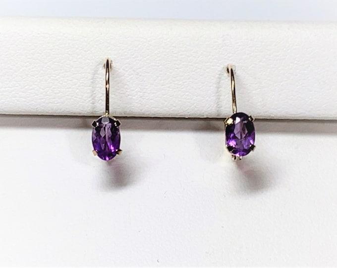 "10K Yellow Gold Amethyst Drop Earrings, Lever Backs, Oval Faceted Amethyst Gemstone 6X4 mm, .96 Carat T.W. 1/2"" Drop. Free US Shipping."