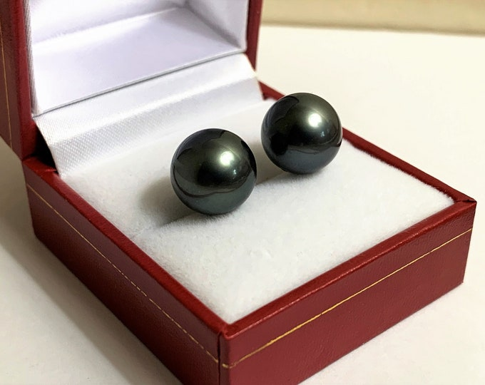 14K White Gold Natural Tahitian South Sea Round Black Pearls, Large Fine Quality Pearls 12 -12.20 mm, Perfect Match.