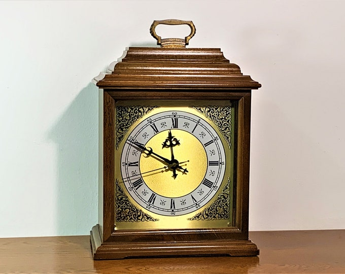 "Vintage Hamilton Wood Case, Ornate Brass Dial, Modified Quartz Movement Mantle Clock, Lancaster PA. USA , 13"" H. 9"" W. Free US Shipping"