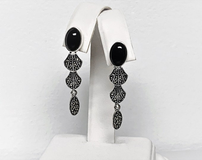 """Vintage Judith Jack Sterling Silver Maecasite & Cabochon Black Onyx Dangle Earrings, 1 7/8"""" Long - Signed. Refinished, Free US Shipping."""