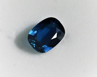 Fine Natural Blue Sapphire, Royal Blue, Cushion Cut .95 carat, 7.10 X 5.20 mm, Excellent Color and Luster. Sri Lanka
