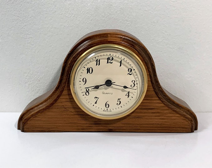 "Beloit College Logan Museum Wood Mantle Clock, A Piece of History, Precision Quartz Movement, USA. No. 32, 8"" W. 4.5"" H. Serviced & Tested"