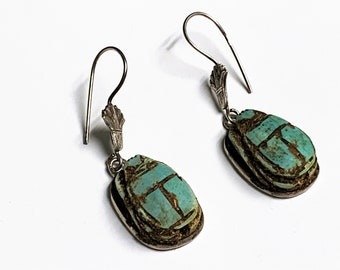 """Vintage Ancient Egyptian Faience Scarabs Dangle Earrings, Hand Made Sterling Silver Bezel and Ear wire, 1 3/4"""" long, Made in Egypt."""