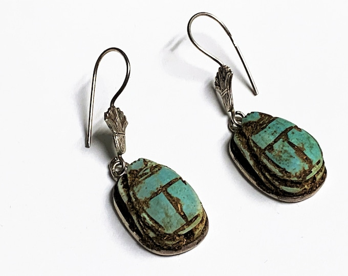 "Vintage Ancient Egyptian Faience Scarabs Dangle Earrings, Hand Made Sterling Silver Bezel and Ear wire, 1 3/4"" long, Made in Egypt."