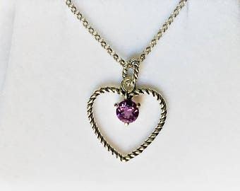 """Sterling Silver Heart Necklace, Natural Amethyst - Rose De France Color, Cable Style 1"""" Heart, 18"""" Rolo Chain"""