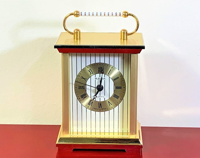 """Bulova West Germany Brass Carriage Mantle Clock, Enameled Handle, B1363, Precision Germany Quartz Movement, 6"""" T - 4"""" W, Beautiful Condition"""