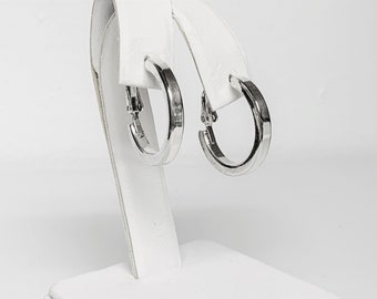 """Sterling Silver Hoops, European Style with Omega Backs Closure, 1"""" Diameter, 4mm Square Gauge, High Polish. 5.30 Grams. Free US Shipping."""
