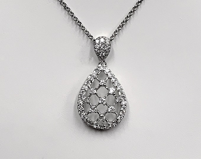 """Sterling Silver Fine Hand Crafted Necklace, Hand Set Round Full Cut CZ, Amazing Details, 20"""" Rolo Chain, Elegant Luxurious Necklace."""