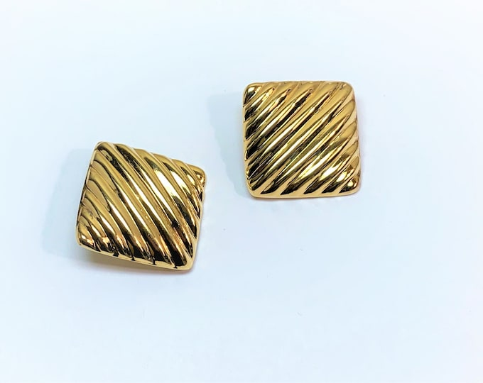 "Vintage Sterling Silver with 18K Gold Overlay Clip on Earrings, Large Ridged High Polished 1.25"" Rhombus, Secure Tight Clips, 14.40 Grams."