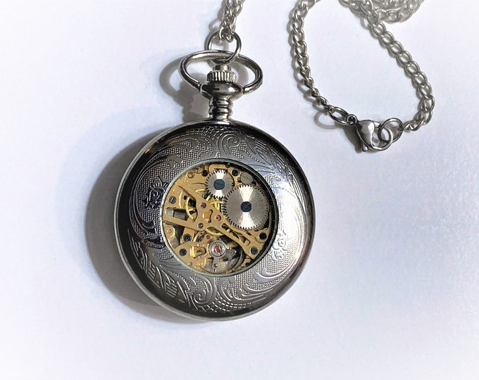 "Vintage Skeleton Mechanical Wind-Up Pocket Watch, Filigree Face Hinged Cover, Exhibition Case Back, 46 mm, 30"" Chain, Stainless Steel. Works"