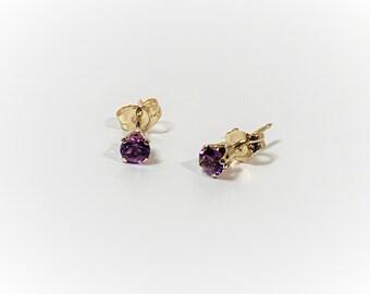 14K Yellow Gold Purple Amethyst Gemstone Studs, 4mm Round Natural Amethyst .50 Carat, Large 14K Backs,  Free US Shipping.